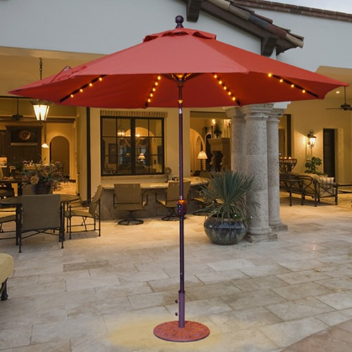Lighted 9' Auto Tilt Patio Umbrella