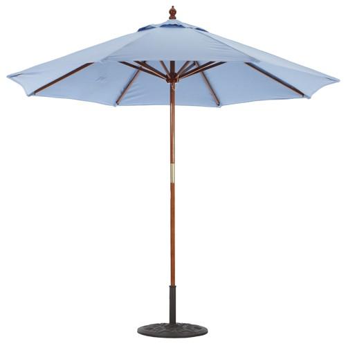 9' Deluxe Wood Market Umbrella with Dark Wood