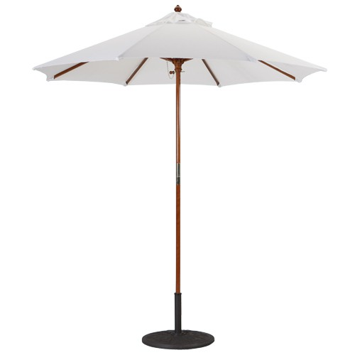 7 Foot Wood Market Umbrella - Dark Wood