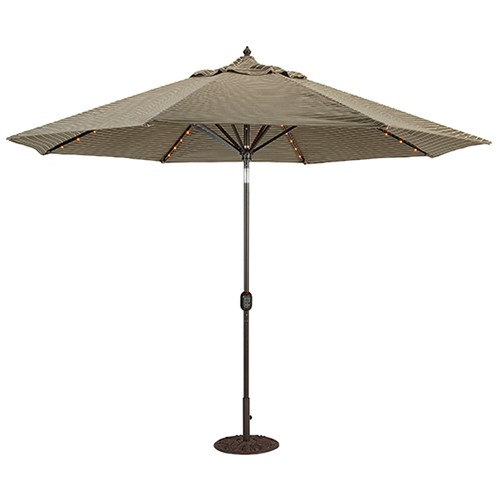 Charmant 11u0027 Lighted Patio Umbrella   Aluminum Auto Tilt